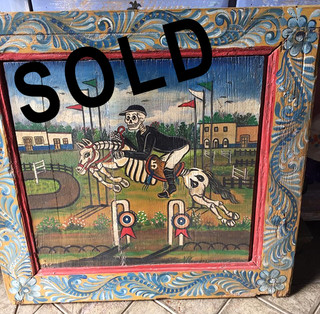 SOLD-Antique Wood Frame with Painting $3800 pesos plus shipping (mas envio)