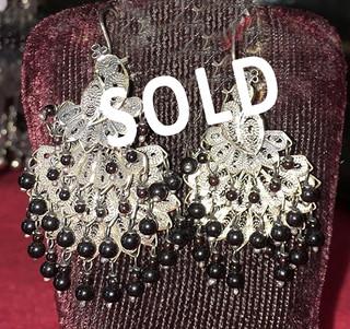 SOLD--Silver Filigree Earrings $2,300 pesos plus shipping (mas envio)