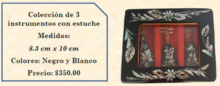 Wood inlaid w/abalone 3 mini-musical instruments $350 pesos plus shipping (mas envio)