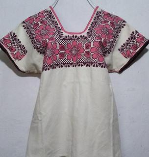 Huipil with rose/black embroidery $1600 pesos plus shipping (mas envio)