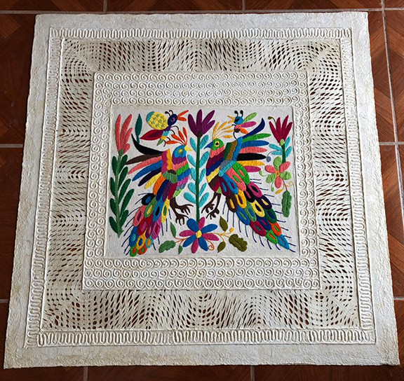 Amate with Otomi Embroidery $1,000 pesos plus shipping (mas envio)