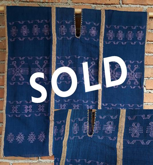 SOLD-Endangered: Three-canvas indigo Huipil with purpura snail brocade $3,000 pesos plus shipping (mas envio)