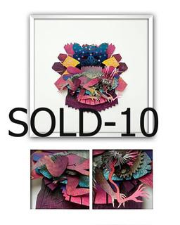 "SOLD-""NAHUALA (RABBIT WOMAN)"" Papercut Art $3,600 pesos plus shipping (mas envio)"