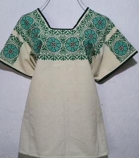 Huipil with green/black embroidery $1600 pesos plus shipping (mas envio)