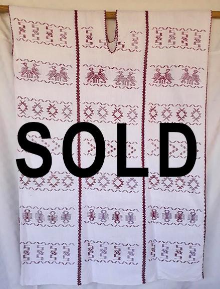 SOLD--Endangered: Purpura White Huipil $4,500 pesos plus shipping (mas envio)