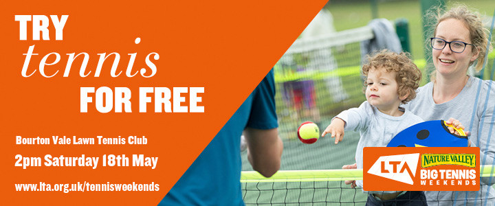 Free tennis for kids and adults at Bourton Tennis Club's Open Day Saturday 18 May