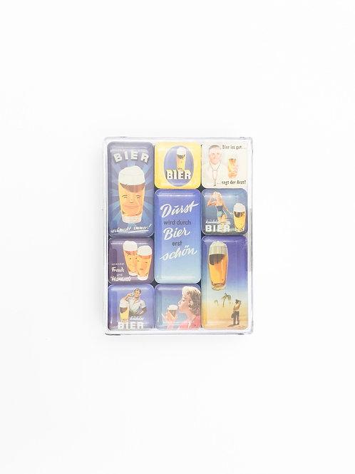 """9er Magnet-Set """"Bier"""""""