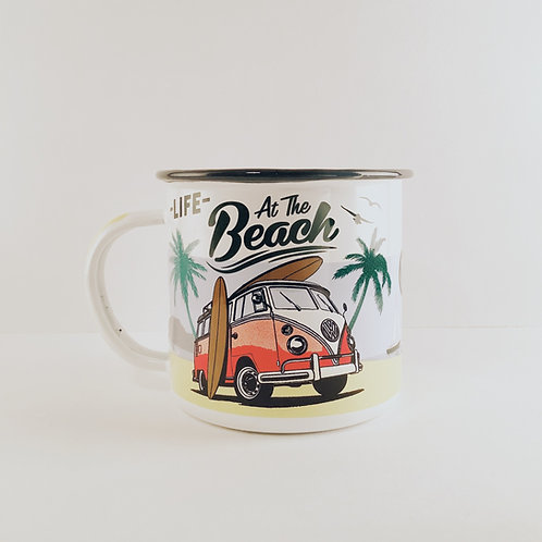 "Emaille-Tasse ""Life At The Beach"""