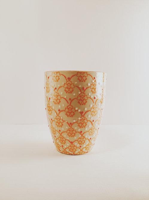 Becher Keramik orange