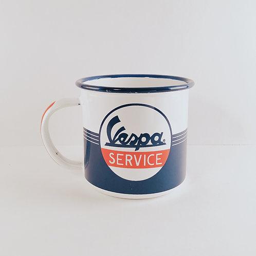 """Emaille-Tasse """"Vespa Service"""""""