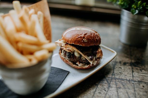 Smoked brie + bacon jam burger