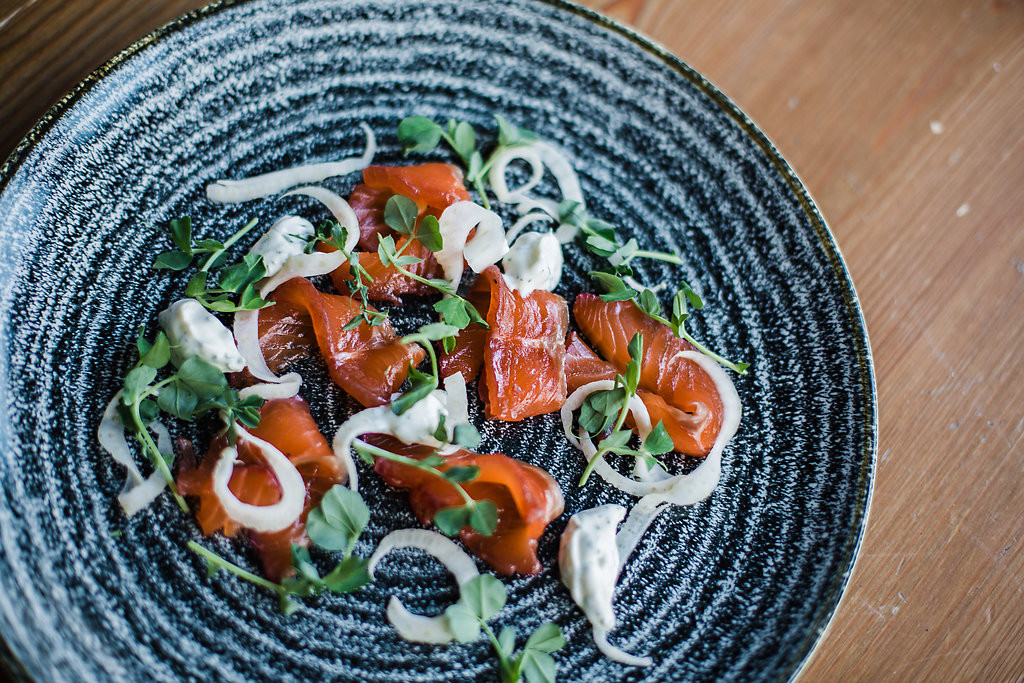 hot smoked salmon, pickled fennel + horseradish puree