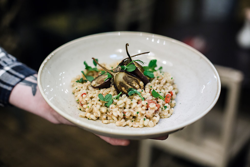 baby aubergine + red pepper pearl barley risotto