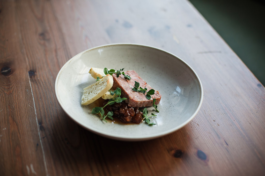 smoked ham hock, date + apple chutney