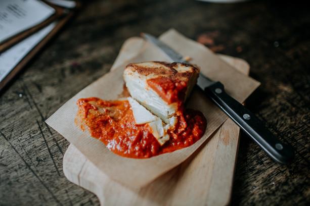 spanish tortilla with bravas sauce