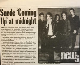 Review of the 'Coming Up' gig at Virgin Megastore, London. Unknown Source and Date