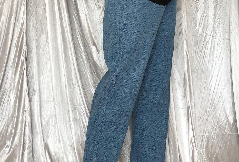 jacquard denim pattern active pants