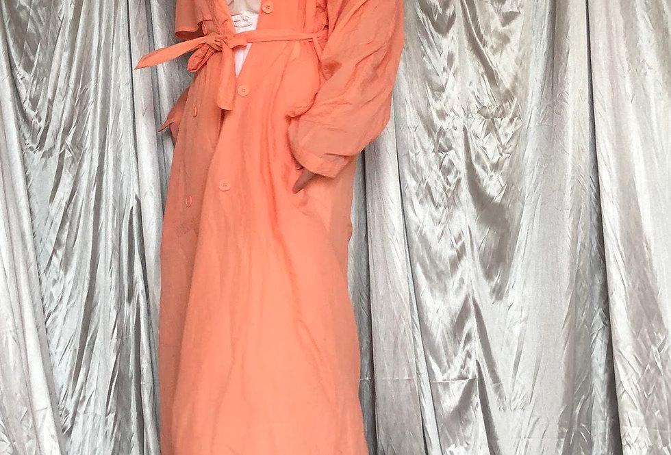 1980s pastel pink nylon trench coat