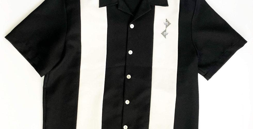 "1970s Da Vinci open collar shirt "" monoqlo stripe """