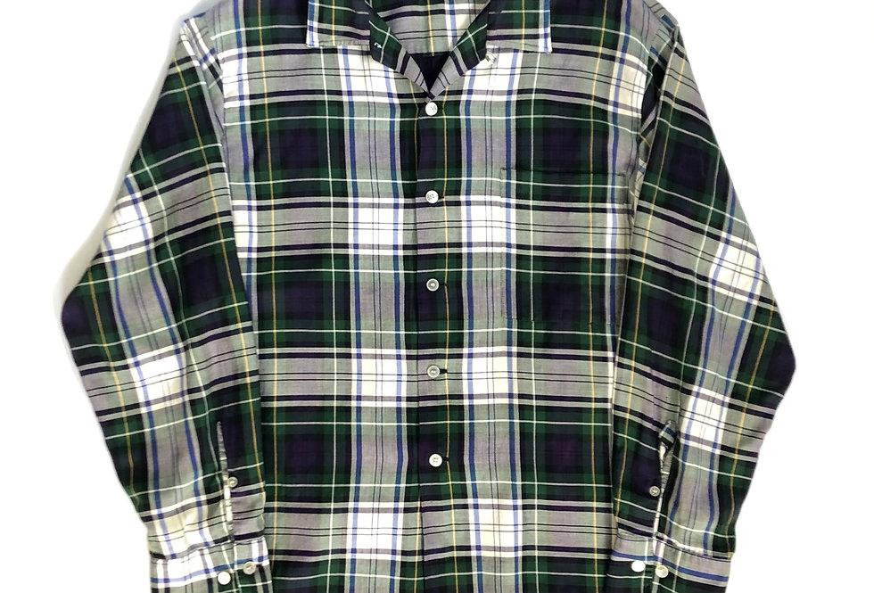"1960s〜 open collar rayon shirt "" tartan check """