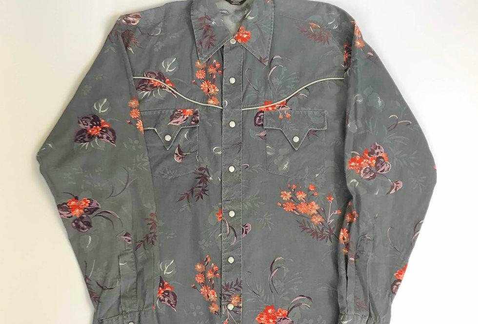 1970s flower pattern western shirt
