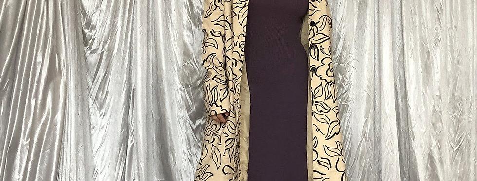 flower pattern linen coat
