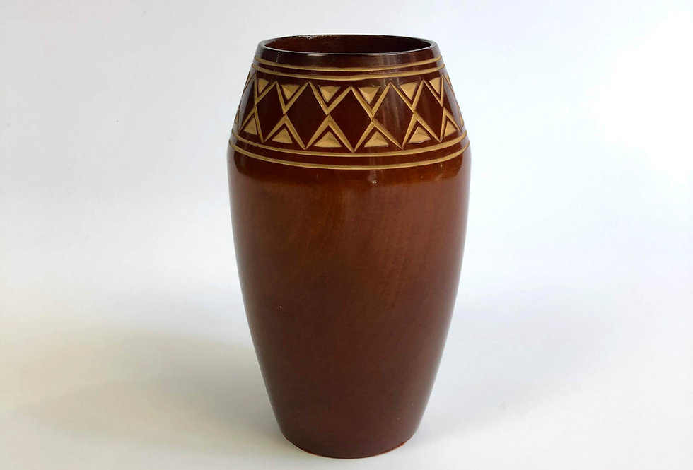 "vintage wood vase "" hand carving """