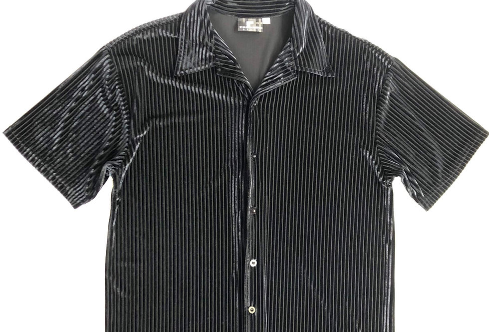 1980s glossy open collar shirt