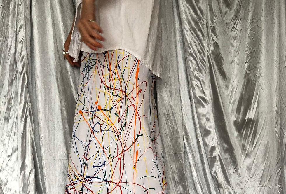 hand painted maxi skirt