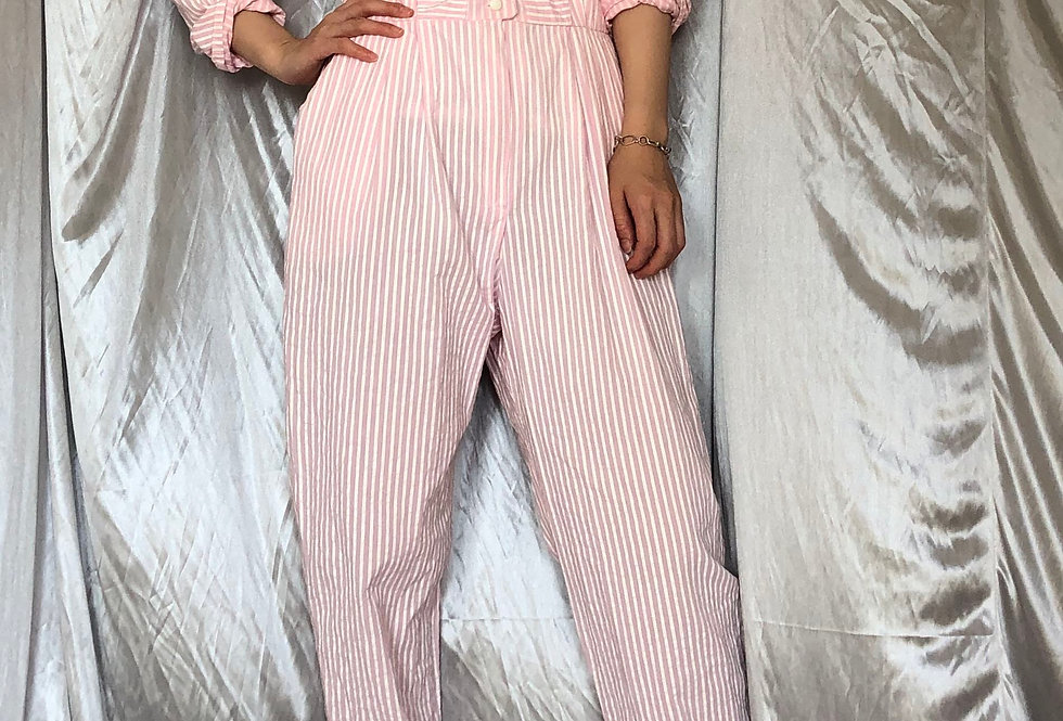 1980s design stripe jumpsuit