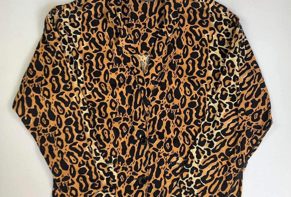 1980s liz wear leopard cotton jacket