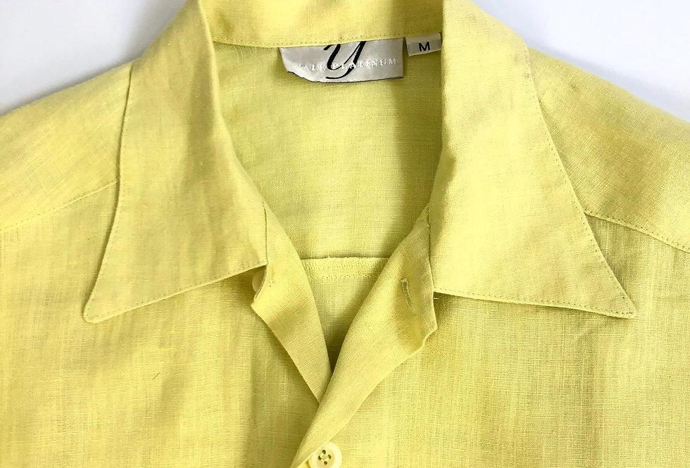 "1990s linen shirt "" lemon yellow """