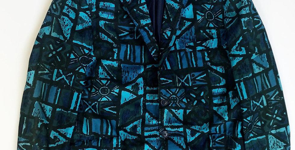 1960s batik pattern cotton tailored jet