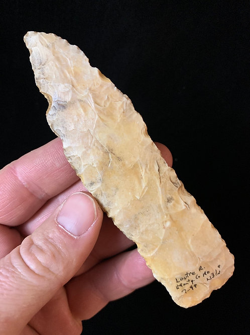 """4.3/4"""" Creek Stained Archaic Knife Loutre River Columbia MO"""