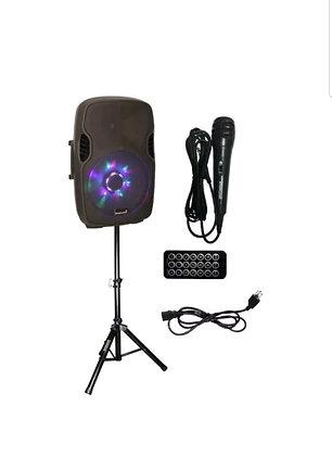 15 Inch 2000W PA DJ Karaoke Powered Bluetooth LED Light SpeakerStand