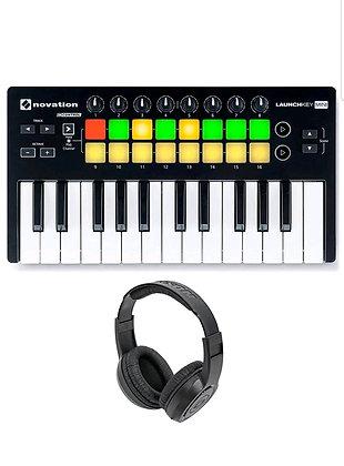 Launchkey Mini MK2 USB MIDI Controller with Samson SR350 Stereo Headphones