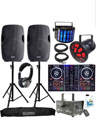 """DJ Starter Kit XX Gemini 15"""" Powered Bluetooth Speakers"""
