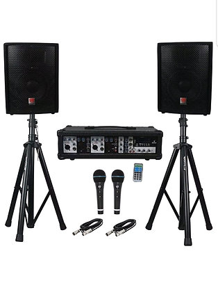 """800 Watt Complete PA System Package With Mixer/Amp, 2 10"""" Speakers, Stands"""