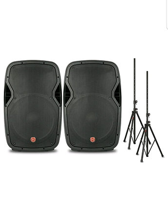 """15"""" Package Powered Speakers and Stands"""