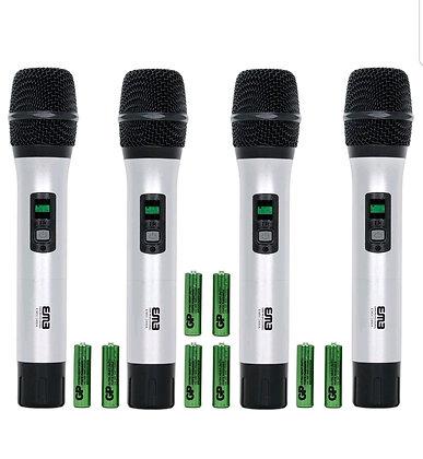 Audio 4 Channel Quad UHF Handheld Wireless Microphone System