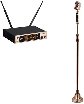 Retro-Styled Wireless Microphone System with Pivoting Mic Swing Stand