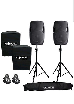 AS-1200P Active/Powered Portable DJ PA Speaker System Stands and Covers