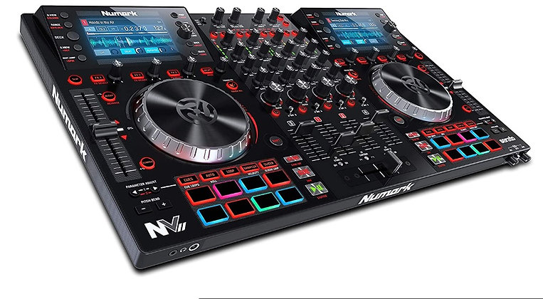 Four Deck DJ Controller for Serato DJ (Included) With Dual High Resolution Displ