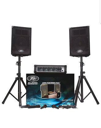 Audio Performer Pack PA System with Mixer, 2 Mics, 2 XLR Cables, Speaker Stands