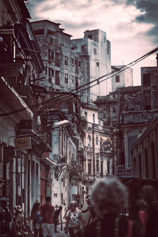 Photograph of a side street market in Centro Habana, Cuba.