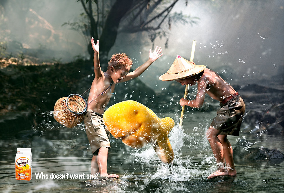 Print ad for Goldfish crackers with kids in Asia hunting for fish.