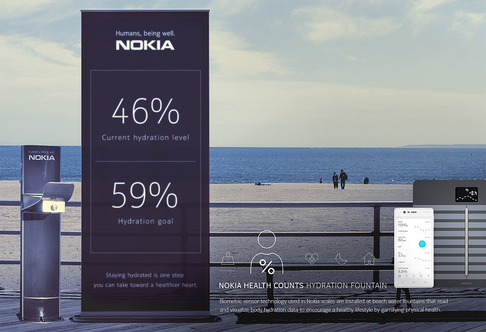 Nokia Health Counts Brand Advertising Campaign interactive environmental installation activations.