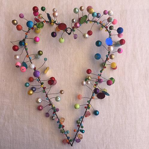 Drahtherz mit Perlen