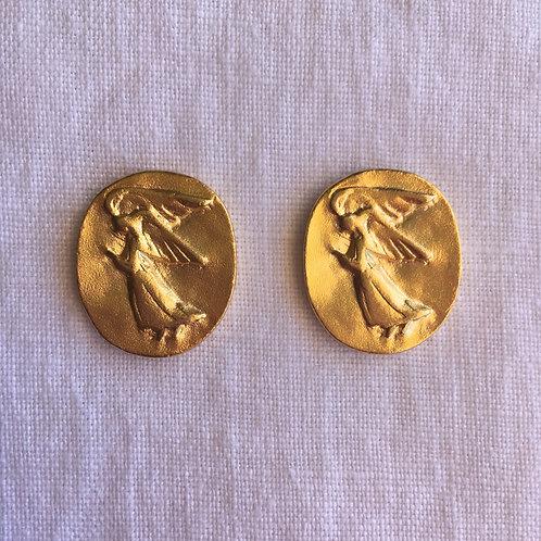 Schutzengel, Zinn vergoldet, 2er-Set