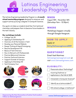 Latinas Engineering Leadership Program Flyer 2019